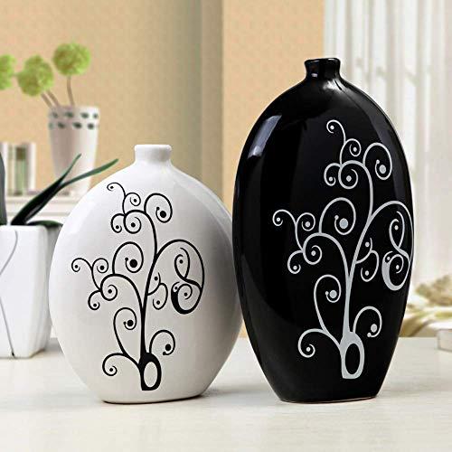 HongLianRiven Wit Eenvoudige Tv Kabinet Wijn Decoratie Ornamenten Thuis Grote Zwarte Kleine Plat Bot Keramische Vaas Bloem Keramische 12-6