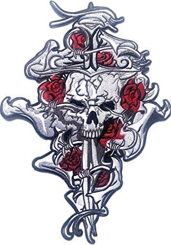 """P.ANTIGURU Skull-Aufnäher-Kreuz-Patches-Applikation-Stickerei-groß für Jeans-Jacke-n Kleidung Aufbügler zum aufbügeln 29 x 19 cm """""""