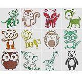 Plantillas de Pintura de Animales 12 PCS Plantilla de Plástico Animal 13*13CM Tarjeta de Plantilla de Pintura para niños DIY Herramientas de Pintura de Doodle