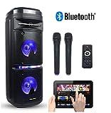 Portable Karaoke Machine & Speaker with Bluetooth, 2 Wireless Microphones & Disco Party