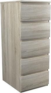 ADGO Malwa W5 Commode avec 5 tiroirs 45 x 40 x 111 cm, armoire pour vêtements, meubles de salon, penderie, armoire classiq...