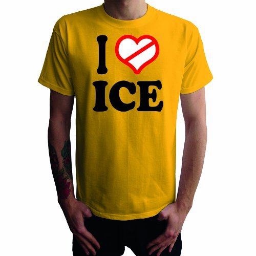 Je ne aime pas Ice T-shirt des hommes, jaune, S
