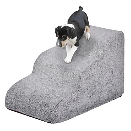 Linsition Scaletta per cani e gatti ad alta densità in spugna a 3 livelli, scaletta portatile rimovibile e lavabile, per letti rialzati e divani 60 x 40 x 40 cm