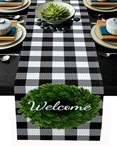 YOKOU Burlap Kitchen Table Runner, 18'x72' Long Table Top Decoration for Everyday Use, Special Occasions, Dinner Parties, Green Wreath White and Black Buffalo Check Plaid Welcome