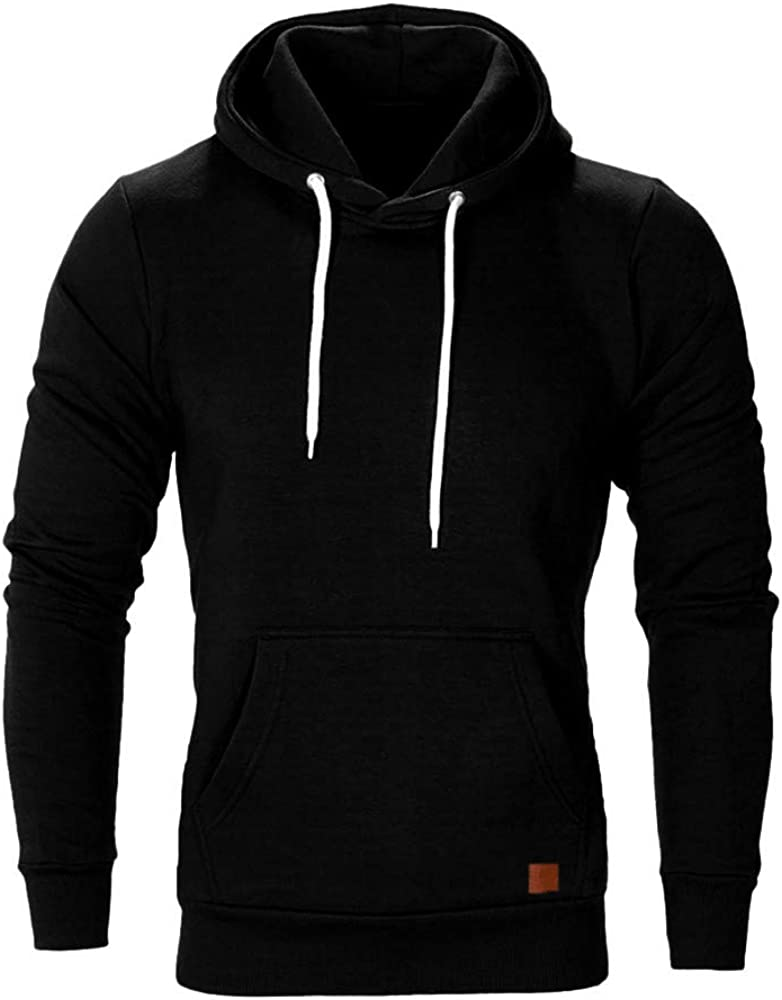 Hoodies Men Pullover Comfy Loose Long Sleeve Athletic Sport Sweatshirts Casual Plain Sweaters Workout Tops