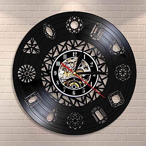 Tbqevc Adorno de Pared Arte Reloj de Pared Cristal Gema Piedra Cadena Cristal Arte Natural Disco de Vinilo Reloj de Pared 12 Pulgadas