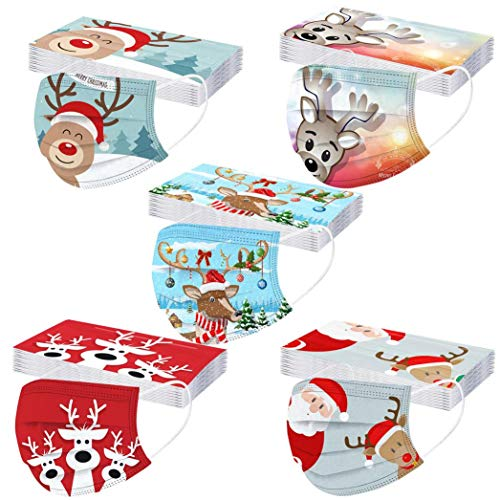 50 Pack 3Ply Christmas Disposable Face_Mask for Adults,Andees Fashion Cute Xmas Santa Claus Snowman Christmas Pattern Print Face_Masks Adjustable Breathable Comfortable for Men and Women (B3/50PC)