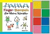 Fingerstempeln für kleine Künstler-Set: Buch und 8 Stempelkissen.