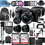 Sony Alpha a6400 Mirrorless Digital Camera 24.2MP Sensor with 16-50mm Lens, 2 Pack SanDisk 128GB Memory Card, Backpack, Full Size Tripod & A-Cell Accessory Bundle (Black)