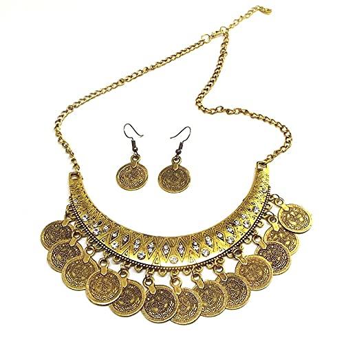 VAWAA Conjunto de Collar de aretes de Lujo Gitano Vintage Boho, Collar de borlas de Monedas étnicas, Conjuntos de Joyas Nupciales Indias