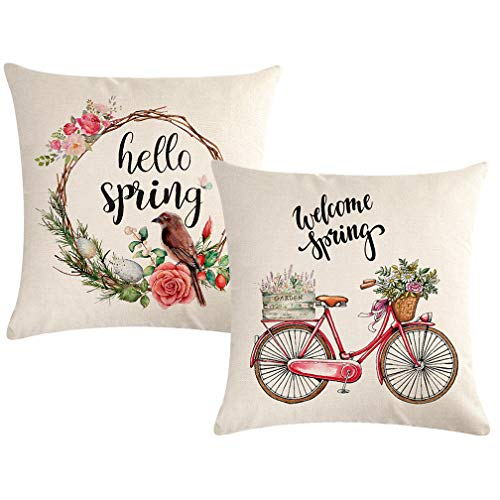 ULOVE LOVE YOURSELF 2Pack Hello Spring Pillow Cover Wreath/Bicycle/Birds/Fresh Flowers Home Decorative Throw Cushion Case 18×18 Inches for Sofa Couch Porch