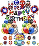 Superheroes Globos Decoracion Cumpleaños de Superhéroe Feliz Cumpleaños del Pancarta Superheroes Adornos de Pastel Superhéroe Marvel Cumpleaños Decoracion (color-2)