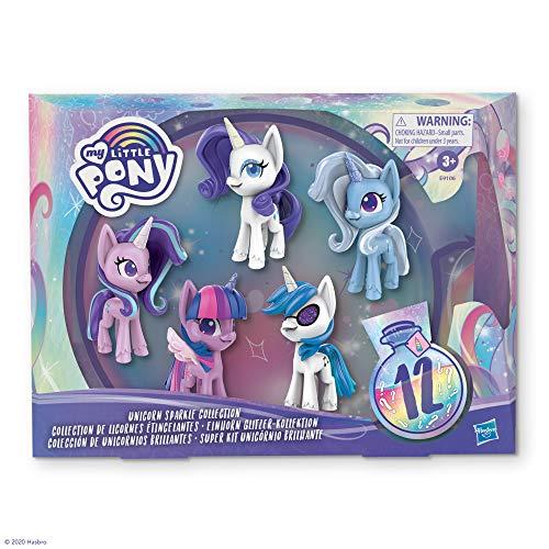 My little Pony E9106 Little Pony Einhorn Glitzer-Kollektion 5er-Set Ponyfiguren, 7,5 cm groß mit glitzernden Hörnern und 12 Überraschungsaccessoires