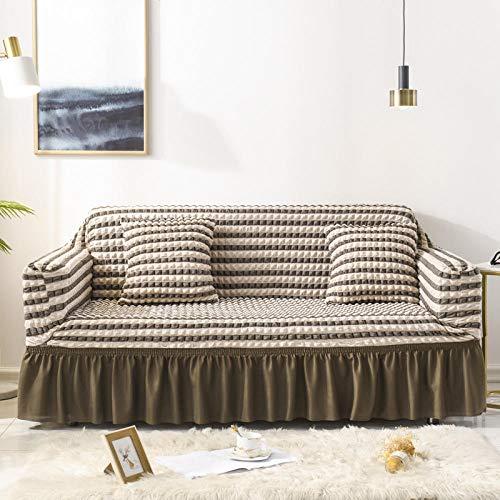 Fsogasilttlv Funda Antideslizante para sofá Lavable y elástico 2 plazas y 3 plazas, Funda de sofá con diseño de Rayas Lisas, Falda de Seersucker para Sala de Estar elástica, Funda de sofá, 2 Piezas