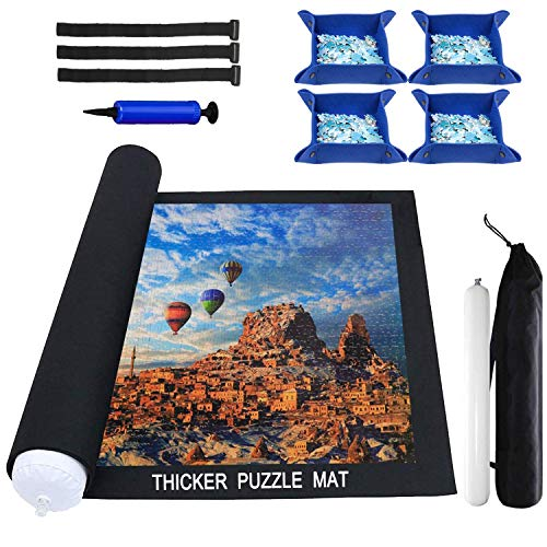 Puzzle Mat Roll Up 2000 Pieces, Thicker Puzzle Roll Up Mat, Jigsaw Puzzle Mat Roll Up 1000 1500 Pieces, Store and Transport Jigsaw Puzzle, Puzzle Sorting Trays X4 Black Felt Mat