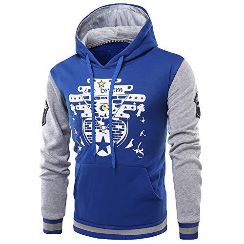 MAYOGO Herren Sweatshirt Jacke Basic Sportliche Hoodie Tunnelzug Kapuzenpullover mit Kängurutasche (Blue, S)
