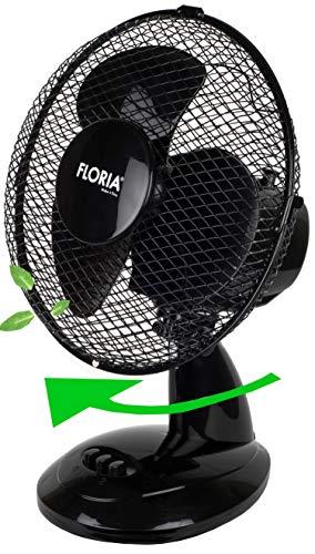 Tischventilator Ø23 cm 25 Watt | Ventilator | Rotation zuschaltbar | oszillierend | leiser Betrieb | Luftkühler | Windmaschine | geeignet für Büro, Schlafzimmer, Wohnzimmer |