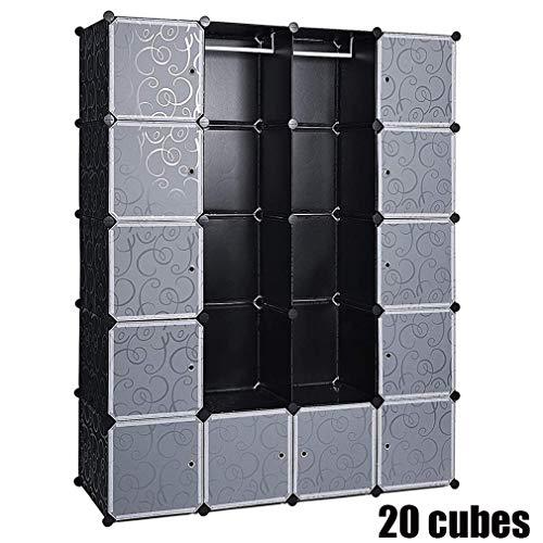 Armario Simple, Armario Portatil Armario Modular Tablero de Resina 20 Cubos con Puerta Almacenamiento para Ropa Libro Jugete 183x47x147cm,Negro
