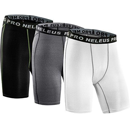 Neleus Men's 3 Pack Compression Short,047,Black,Grey,White,US M,EU L