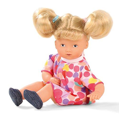 Götz 1587223 Mini-Muffin Ponpon - 22 cm große Weichkörperpuppe mit gemalten blauen Augen und blonden Haaren - 5-teiliges Set bestehend aus der Puppe und der Bekleidung - geeignet für Kinder ab 18 Monaten