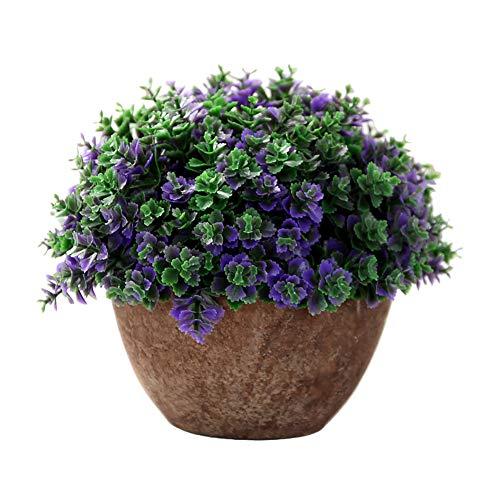 Cosanter Fleur Artificielle Plante SimulÉE Bonsaï Petite Plante en Pot Pourpre Simulation Plante Verte en Pot