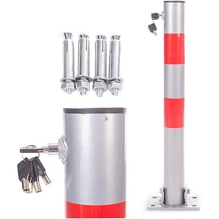 Silber Klappbare Parkpfosten mit 2 /Ösen als Kettenhalterung Parkplatzsperre Absperrpfosten Parkplatz-Barriere mit Schl/üssel mit Schl/üssel