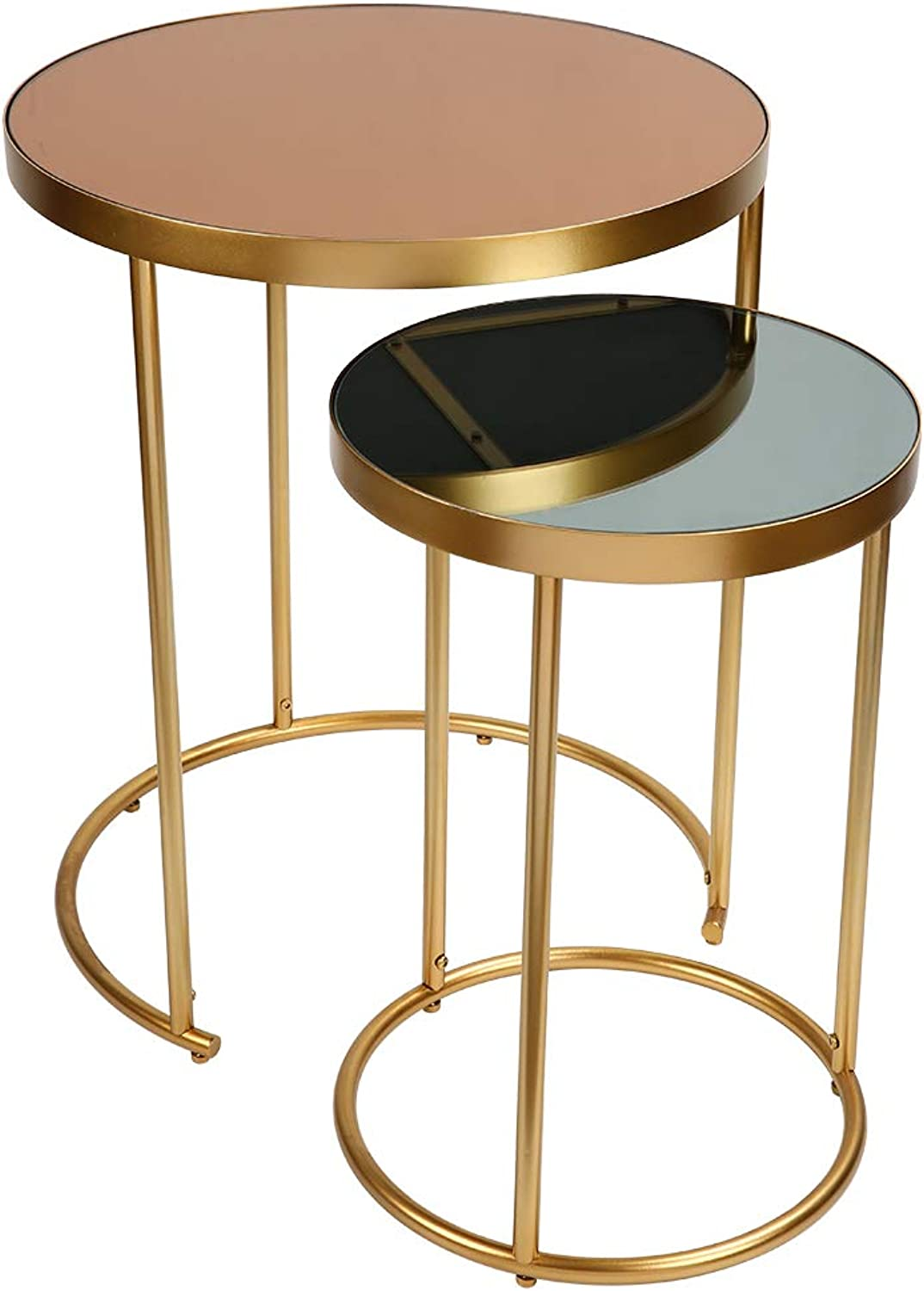 2 Piece Side Tables Set, Round Modern Nesting Side Accent Tables with color Glass Top and gold Base