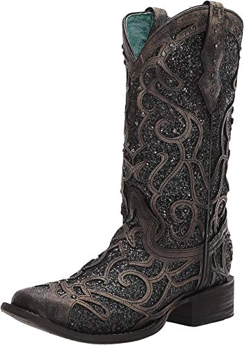 CORRAL Women's Glitter Inlay and Studs Western Boot Square Toe Black 9 M