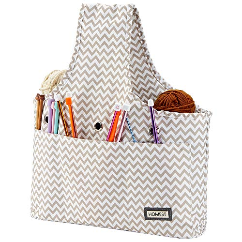 HOMEST Yarn Storage Tote Bag, Travel Wrist Bag for Knitting Needles, Yarn and Crochet Supplies, Ripple (Patent Pending)