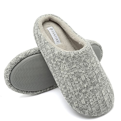 CIOR Fantiny Women's House Slippers Indoor Memory Foam Cashmere Cotton-Blend Knitted Autumn Winter Anti-Slip 2nd Upgrated Version-U118WMT029-02-Light Gray-F-40-41
