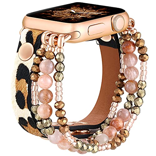 fastgo Leather Leopard Band Compatible with Apple Watch 38mm 40mm Women Girls, Furry Leopard Elastic Cheetah Printed Beaded Bracelet Strap for Iwatch Series SE & 7 6 5 4 3 2 1 (Cheetah, 38mm/40mm)