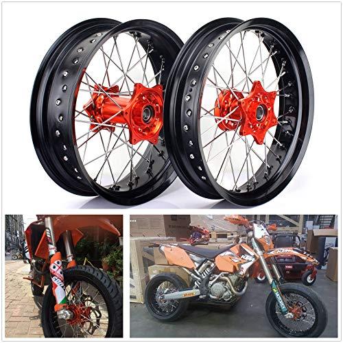TARAZON 17 pulgadas Supermoto Llantas Juego de ruedas Buje Wheel para KTM XC SX 150 250 350 12-14/SX-F 250 350 450 SX125 13-14/XC-F 250 12-13