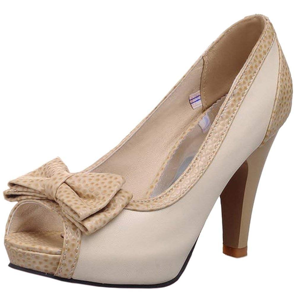 衣装五毎週[Unm] レディーズ Comfort ハイヒール のぞき見つま先 サンダル Slip On Office 靴 ちょう結びと