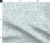 Spoonflower Stoff - Tools Blue Line Zeichnung Buchstaben