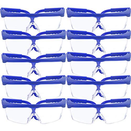 10 Pack gafas de seguridad y gafas protectoras, toohxl ajustable azul marcos para niños adultos gafas de protección con goma gruesa PC lentes, para deportes y actividades al aire libre juego 🔥