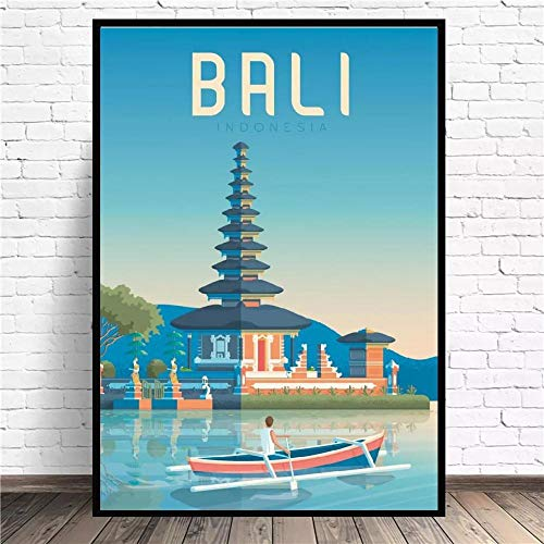 VVSUN Bali Travel Canvas Wall Art Print Modern Poster Wall Pictures Living Room Home Decor,50x70cm(no frame)