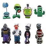 8 PCS Mini Juego de Figuras, Plants vs Zombies Cake Topper Decoración Mini Juguetes Baby Shower Fiesta de Cumpleaños Pastel Decoración Suministros
