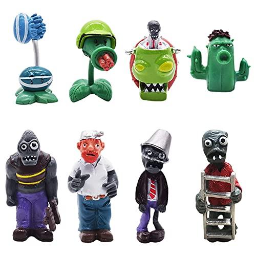 8 PCS Mini Juego de Figuras, Plants vs Zombies Cake Topper Decoración Mini Juguetes Baby Shower...