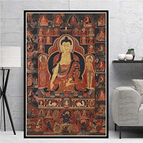 ganlanshu Buddhismusplakatwandkunstplakat und druckbildende Leinwanddekoration Wohnzimmerhauptdekoration,Rahmenlose Malerei,30X45cm