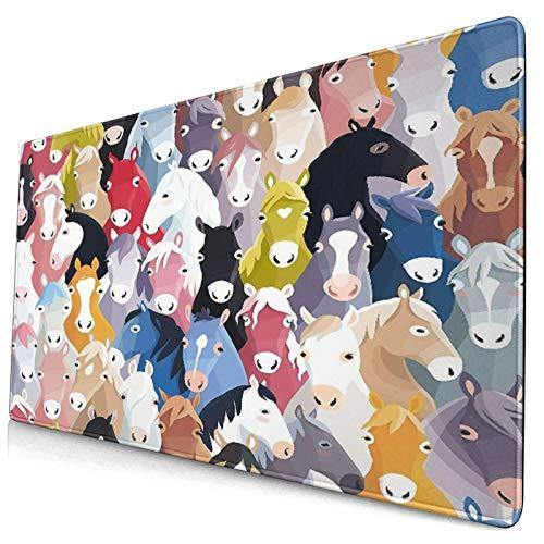 QINCO Grande Juego de Azar Alfombrilla de Ratón-75 x 40cm,Caballos Dibujos Animados Coloridos Pony Arte Infantil Infantil,Alfombrilla de Teclado para el Cojín de Escritorio de la Computadora Portátil