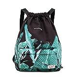 Waterproof Drawstring Bag, Gym Bag Sackpack Sports Backpack for Men Women Girls (50-Black banana leaf)