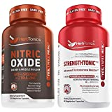 Herbtonics Nitric Oxide and Strengthtonic Testosterone Booster for Men Bundle