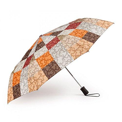 Tous Paraguas plegable Kaos Cuadrados en color naranja-marrón