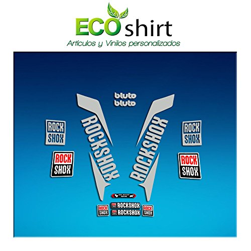 Ecoshirt OV-2D4O-8AIF Sticker Fork Rock Shox Bluto 2017 Am171 Sticker Decals Sticker Vork, Zilver