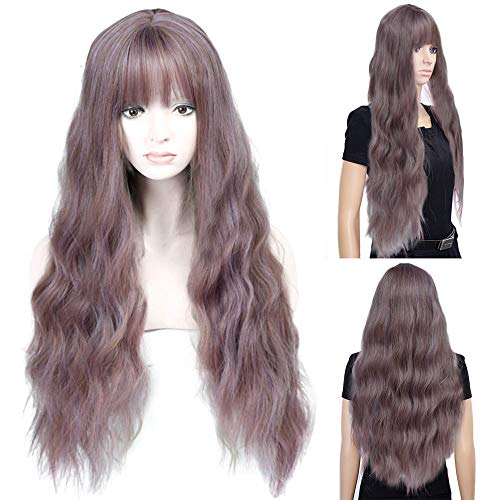 SOOTOP Long Curly Mix Purple Women Wigs Wave Heat Resistant Synthetic Kinky Curly Wigs Real Natural for Women Soft & Smooth,Comfortable & Adjustable Cosplay Daily Party Wig