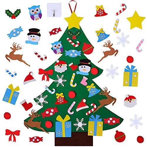 Supla 3 Feet DIY Felt Christmas Tree Set with 30 Pcs Removable Felt Christmas Ornaments for Hanging Wall Decoration Kid's Craft Holiday Xmas Gift Educational Preschool Activity