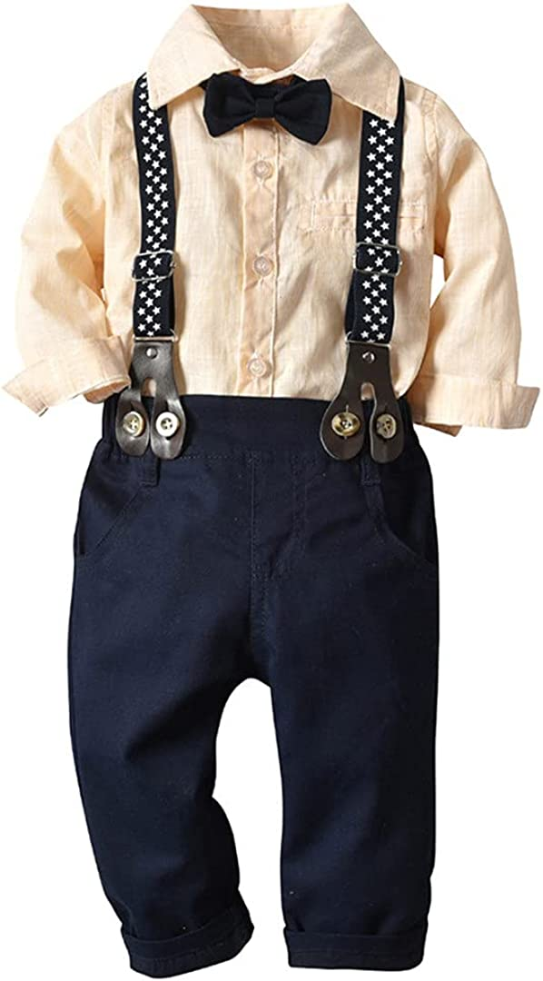 Kids Boy San Diego Mall Surprise price Clothes Set Long Sleeve Striped Bowtie Shirt+Suspender