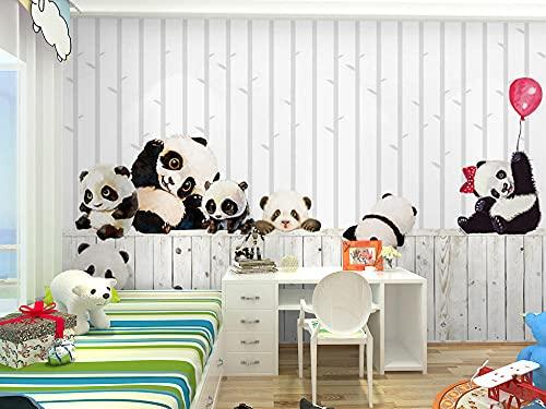 BLZQA Fotomurales Papel pintado tejido no tejido Murales moderna Panda de globo Arte de la pared Decoración de Pared decorativos 250x175 cm-5 panelen