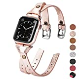 Minyee Leather Bands Compatible with Apple Watch 38mm for iWatch Womens Double Knotted Fasten 40mm Wristband Sleek Rose Gold Strap Unique Rivet Bracelet Series 5 4 3 2 1 (38mm/40mm, Rose Gold)