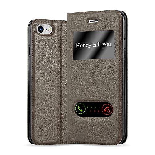 Cadorabo Funda Libro para Apple iPhone 7 / 7S / 8 / SE 2020 en MARRÓN Piedra - Cubierta Proteccíon con Cierre Magnético, Función de Suporte y 2 Ventanas- Etui Case Cover Carcasa